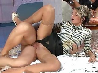 Two Girls In Shiny Glossy Tan Nylon Pantyhose & Stockings Get Fucked