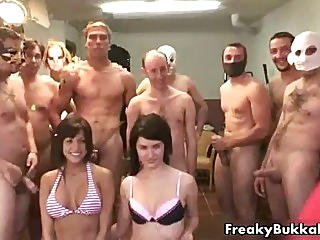 Big Tits Brunette Babe Gets To Eat Cum