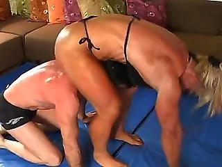 Manios Wrestling In Black Bikini