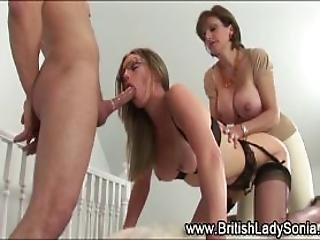 British Milf Whore Gets Spitroasted