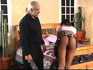 Old Guy Lifts Ebony S Skirt For Wild Spanking