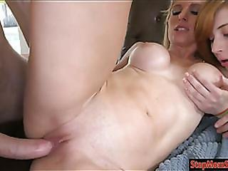Tempting Milf Threesome With Teen Couple On The Couch
