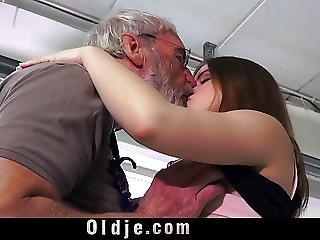 Grandpa Punish Teeny With Ass Slap And Big Dick Shove