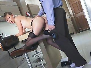 Office Girl Gets Some Action - Cum On Stockings Legs