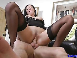 Stockinged Mature Lady Blows And Rides Cock