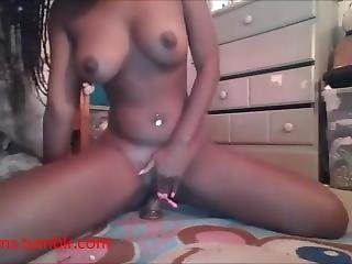 Slim Ebony College Girl Rides Her Dildo And Creams.