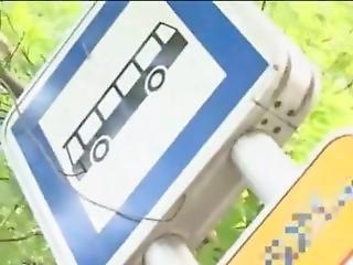 Busty Stewardess Gives Handjob On Bus, Takes Cumshot
