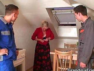 Lonely Grandma Spreads Legs For Two Repairmen