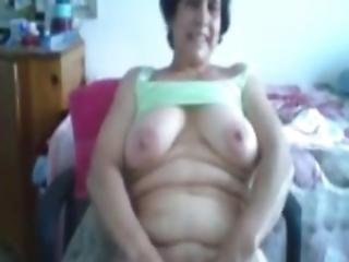 Busty Granny Bianca Nude On Bedroom Webcam