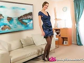 Eufrat In Hot Black Satin Panties And Pantyhose