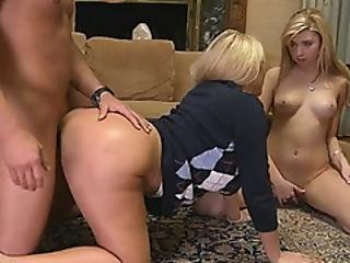 Huge Booty Milf 3some With Teen Couple In The Livingroom