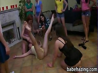 Poor Sorority Rushes Toying Pussy And Strapon Fucking
