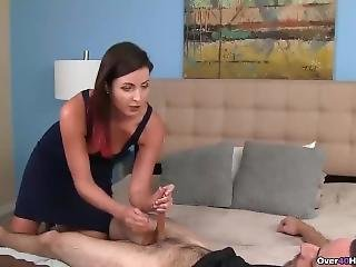 Dominant Milf Making Handjob With Long Nails