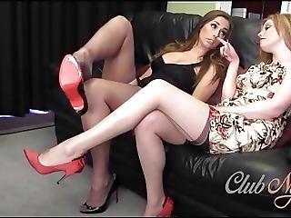 Horny Lesbian Babe Licks Nylon Toes As Milf Fingers Pussy