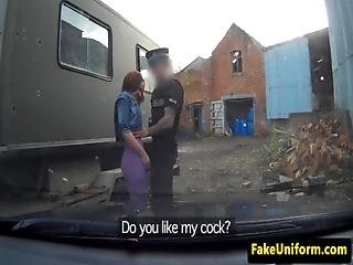 Ginger Newbie Fucked By Policeman From Behind