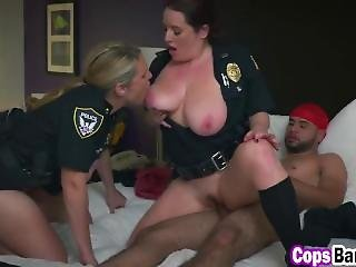 Bisexual Female Cops Threesome Fucking Interracial