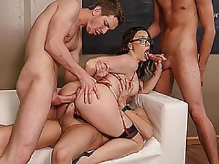 anal, brünette, vollbusig, doppelte penetration, vierer, gruppensex, eindringen, sex