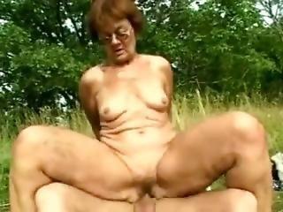 Grandma Marsha Outdoor Sex 1.