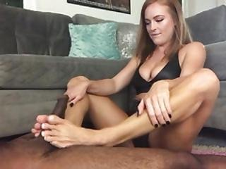 Lucky Big Black Cock Gets An Amazing Footjob