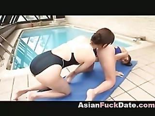 ázsiai, Japán, Leszbikus, Medence, Publikus, úszómedence