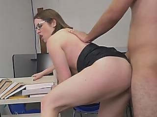 Busty Brunette Librarian Doggy Style Sideways