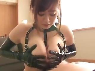 stort bryst, blowjob, japansk, latex, pov