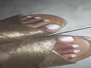 Showing Off My Golden Sandal And My Feet With French
