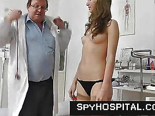 Slim Legal Age Teenager Physical Exam On Spy Clip