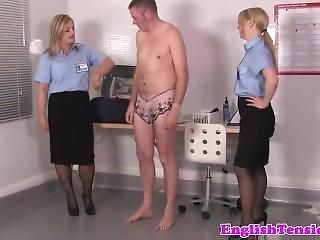 Uniformed Femdoms Assfinger And Spank Sissyboy Sub
