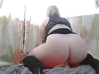 Outdoor Bbw Stuffs Both Holes