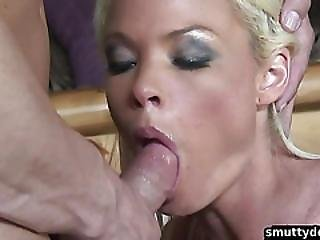 Blonde Babe With Shaved Pussy Gets Fucked
