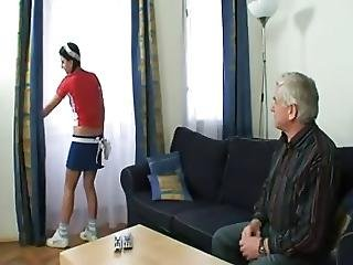 Grandpa Creams His Sexy Young Housemaid