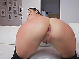 Dark Hair Babe Shaved Pussy Doggy Style Long Dong
