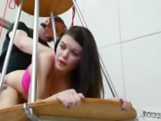 Shop lifter punished hot strapon punishment