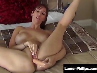 Red Hot Lauren Phillips Inserts Her Dildo In Both Her Holes!