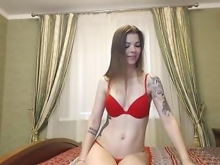 bionda, stupenda, masturbazione, russa, da sola, tatuaggio, Adolescente, giocattoli, webcam