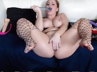 Sensual Redhead Leblanc Chrissy In Sexy Fishnet Lingerie