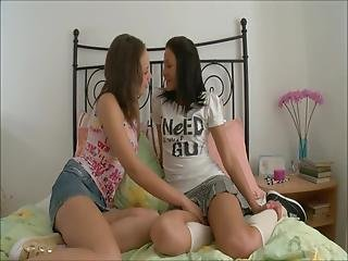 Naughty Laura And Ilina Have Dirty Lesbian Sex With A Share Two Dildos