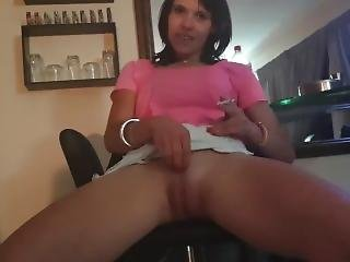 Petite Girl Upskirt Pussy While Smoking A Cigarette With Legs Open