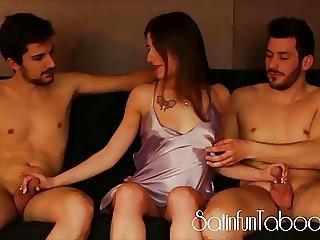 Satin Fetish Teen Threesome