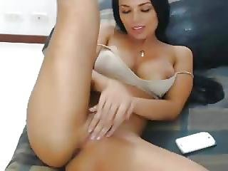 Dark Haired Euro Babe Toys On Cam No Sound .