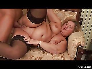 Bbw Granny Enjoys Young Dick