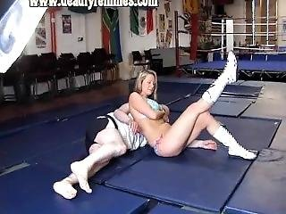 Blonde In Bikini Wrestling