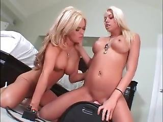 Hot Blondes Play On Sybian Orgasm