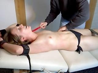 The Sexy Alina Is Tickled Topless On The Table - Upperbody Tickling