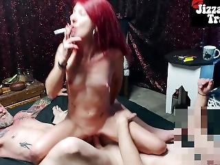 Smoking Dp - Riding 2 Huge Cocks In Amateur Mmf Threesome