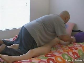 Old Guy Massaging Her Perfect Teen Body