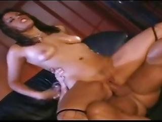 Brunette Slut Gets Triple Teamed And Covered In Cum