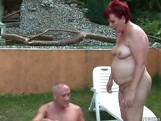 Mature Old Couple Enjoys Sex In The Garden