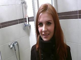 Red Head Beside Innocent Moth Doing Perverted Stuff Inside A Public Toilet
